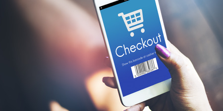 purchase: Checkout Purchase Online Shopping Concept Stock Photo
