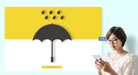 Woman with umbrella concept Standard-Bild - 111521390