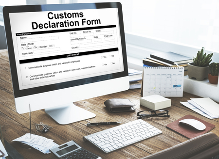 declaration: Customs Declaration Form Invoice Freight Parcel Concept Stock Photo