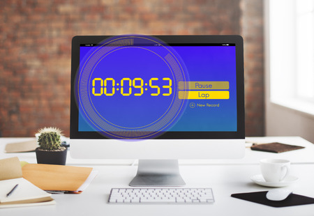record office: Stopwatch New Record Time Concept Stock Photo