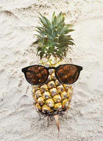 Pineapple Wearing Sunglasses Beach Summer Concept Stock Photo