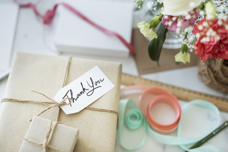 Gift Packing Present Creative Ideas Simplify Concept Stock Photo