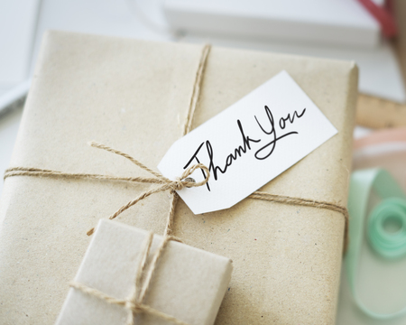 pack string: Thank You Gift Message Present Packing Concept