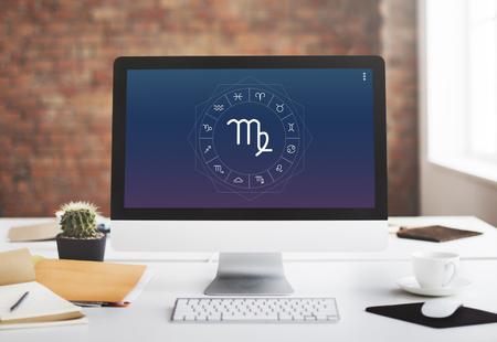 foretell: Virgo Symbol Horoscope Zodiac Fortune Graphic Concept
