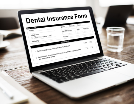 oral communication: Dental Insurance Form Toothache Oral Mouth Teeth Concept Stock Photo