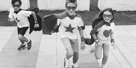 brother sister fight: Superhero Boy Girl Brave Imagination Concept
