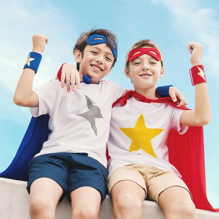 Superheroes Kids Boy Friend Buddy Concept Stock Photo