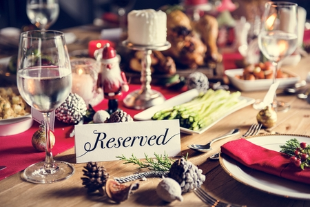 Christmas Family Dinner Table Concept Photo