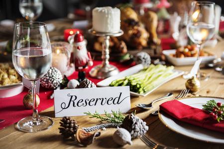 Kerst Family Dinner Table Concept Stockfoto