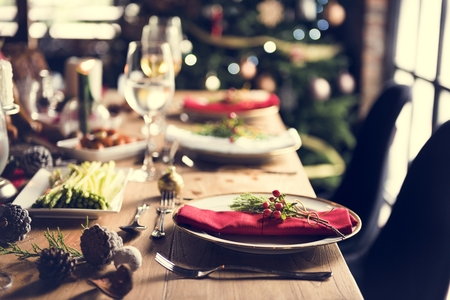 Christmas Family Dinner Table Concept Stock Photo - 65478006