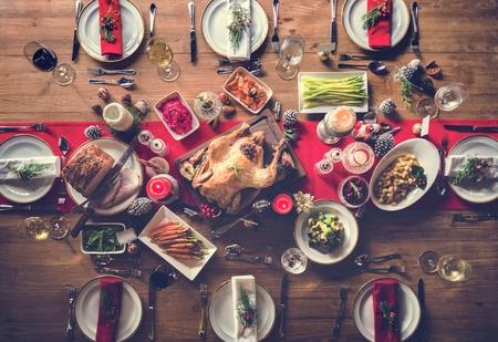 Dîner Famille Table Concept de Noël Banque d'images - 65478009