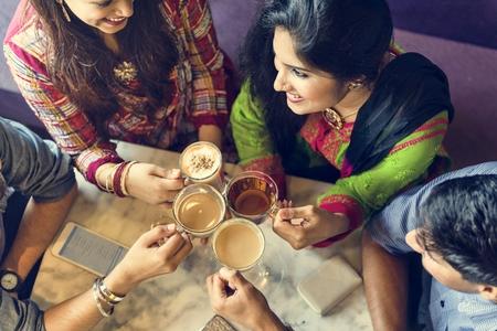 indian ethnicity: Indian Ethnicity Drinking Cafe Break Coffee Tea Concept