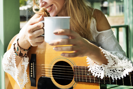Guitarist Hobby Holiday Instruments Leisure Concept Stock Photo