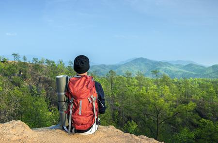 exploring: Guy Exploring Freedom Outdoors Concept Stock Photo