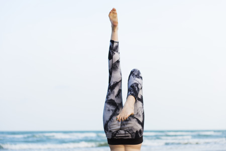 concentration: Yoga Exercise Stretching Meditation Concentration Summer Concept Stock Photo