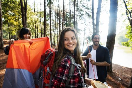 explore: Friends Explore Nature Outdoors Concept