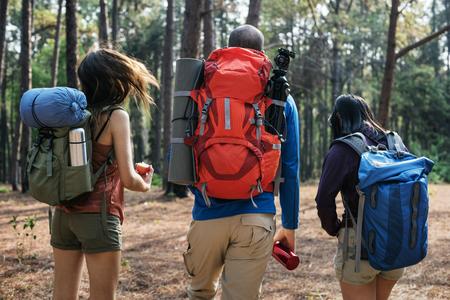 exploring: Friends Walking Exploring Outdoors Concept