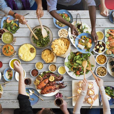 Concepto La restauración de alimentos de cocina culinaria Partido Buffet Gourmet Foto de archivo