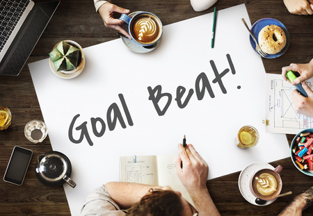 man business oriented: Goal Beat Aspiration Ambition Hopeful Aim Concept Stock Photo