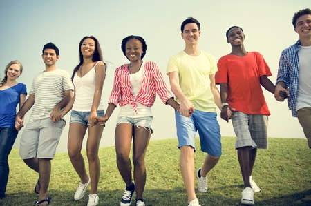 peers: African Descent Community Cheerful Happiness Concept