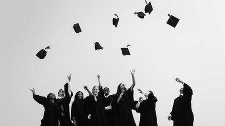 master's: Successful Masters PHD Graduation College Concept