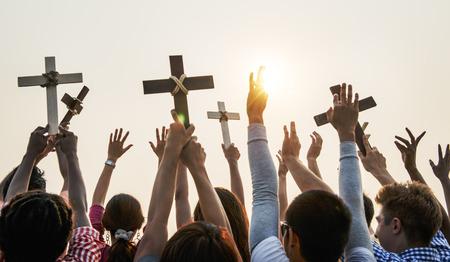 クロス宗教カトリックのキリスト教のコミュニティのコンセプト
