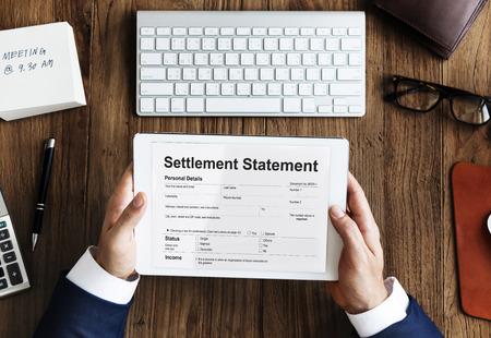 settlement: Settlement Statement Form Financial Concept