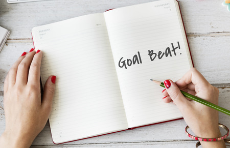 goal oriented: Goal Beat Aspiration Ambition Hopeful Aim Concept Stock Photo