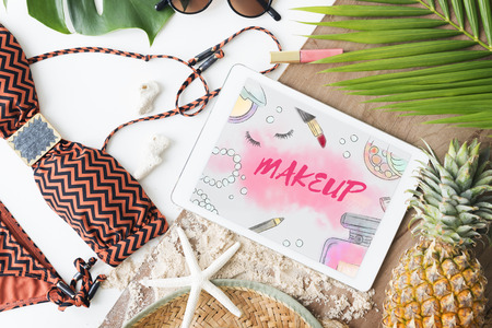 necessities: Chic Cosmetics Trendy Vogue Fashion Concept Stock Photo