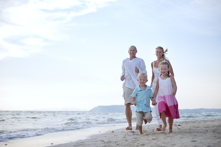 Beach Family Vacation Parent Children Relaxation Concept Stock fotó