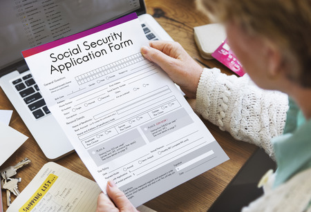 social security: Social Security Application Form Insurance Pension Concept
