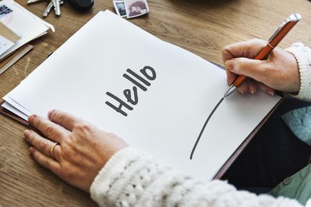 comunicación escrita: Hello Hi Greeting Expression Communication Concept