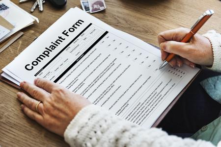 Concepto de formulario de queja