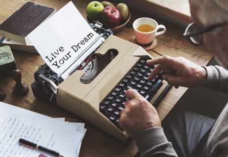 journalism: Journalism Working Typewriting Workspace Concept Stock Photo
