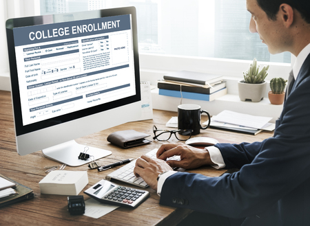 registry: College Enrollment Study Academic Concept Stock Photo