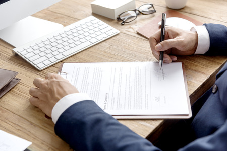 conditions: Business Man Signing Terms Conditions Concept Stock Photo