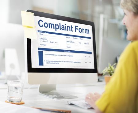 Complaint form concept on computer screen Foto de archivo - 111071965