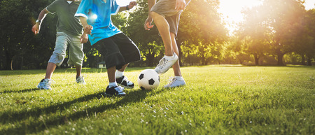 Soccer Football Field Father Son Activity Summer Concept Reklamní fotografie