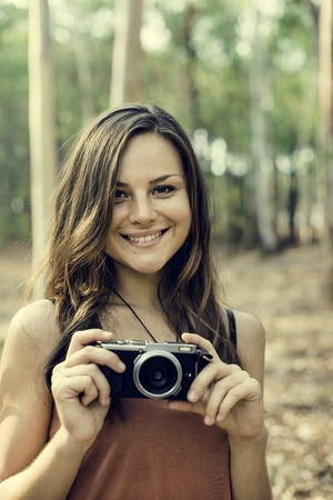 Girl Taking Pictures Outdoors Concept Stock Photo