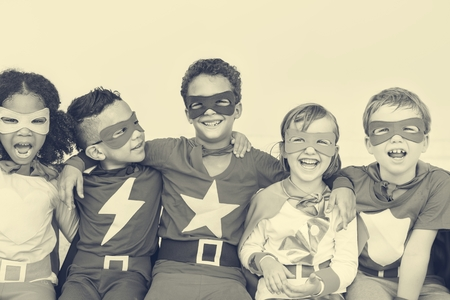 superheroes: Superheroes Cheerful Kids Expressing Positivity Concept