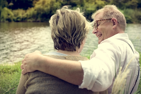 Elderly Senior Couple Romance Love Concept Stock Photo