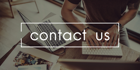 Contact Us Assistance Business Correspondence Concept Stock Photo - 65796822