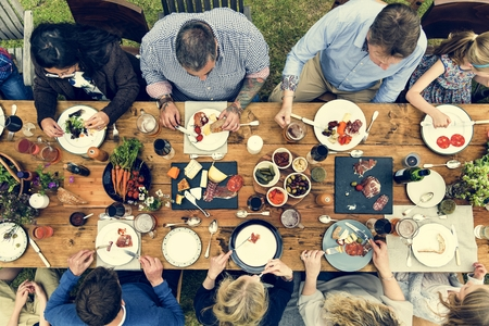 Group Of People Dining Concept Imagens
