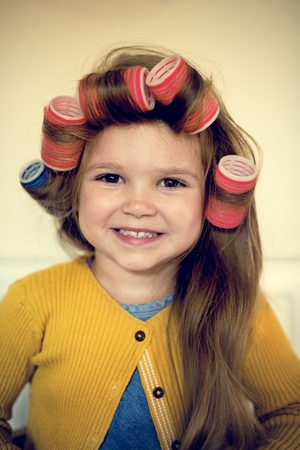 hair roller: Girl Lifestyle Salon Hairstyle Trendy Concept