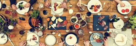 Group Of People Dining Concept Banco de Imagens