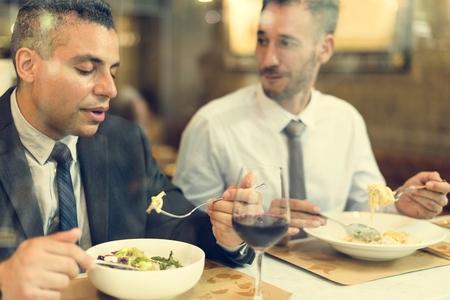 having lunch: Business Men Having Lunch Restaurant Concept Stock Photo