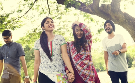 companionship: Indian Ethnicity Park Companionship Friend Concept Stock Photo