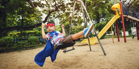 Playground Yard Superhero Freedom Child Boy Concept Stock Photo