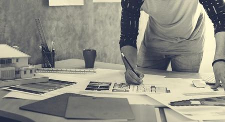 conception studio architecte architecte plan architectural plan Banque d'images
