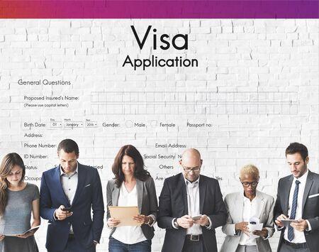 ビザ アプリケーション旅行フォーム コンセプト